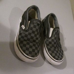 Vans Slip On Skate Sneakers Checker Black Gray